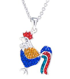 Athra Silver-Plated Crystal Rooster Pendant Necklace