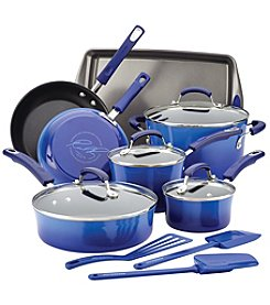 Rachael Ray® 14-pc. Hard Enamel Nonstick Blue Gradient Cookware Set