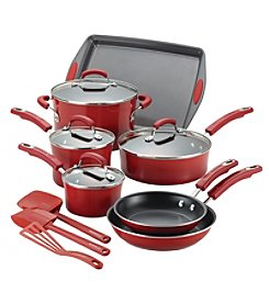 Rachael Ray® 14-pc. Hard Porcelain Enamel Nonstick Red Cookware Set