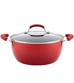 Rachael Ray® 5.5-Qt. Hard Enamel Nonstick Red Covered Casserole