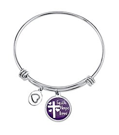 Gratitude and Grace Faith Hope Love Adjustable Bangle