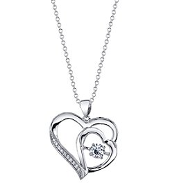 LArocks® Silver-Plated Dancing Cubic Zirconia Pendant Necklace
