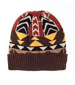 MUK LUKS Color Block Geo Knit Cuff Cap