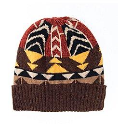 MUK LUKS Color Block Geo Knit Cuff Cap