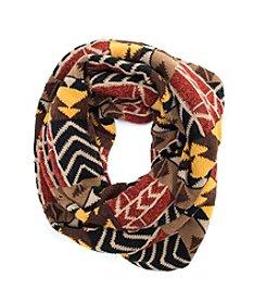 MUK LUKS Colorblock Geo Knit Eternity Scarf