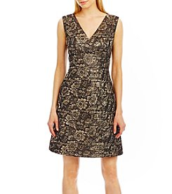 Nicole Miller New York™ Metallic Floral Jacquard Dress