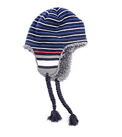 MUK LUKS Men's Striped Helmet Hat
