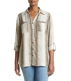 Relativity® Plus Size Printed Blouse