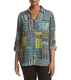 Relativity® Plus Size Patchwork Utility Blouse