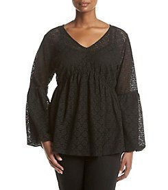 Relativity® Plus Size Lace Bell Sleeve Top