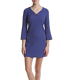 Kensie® Textured Dot Bell Sleeve Dress