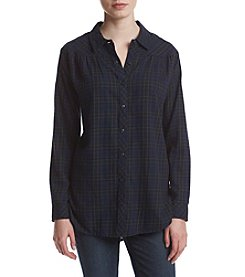 Hippie Laundry Plaid Front Tie Top