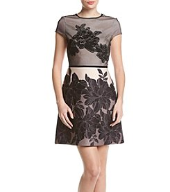 Gabby Skye® Mesh Floral Scuba Dress