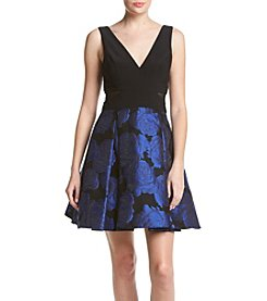 Xscape Ity Mesh Brocade Dress