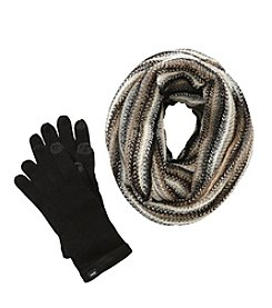 Echo Ombre Loop Scarf With Knit Gloves