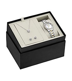 Bulova® Women's Two-Tone Crystal Watch Boxed Set with Pendant and Earrings