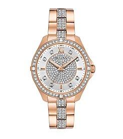 Bulova® Women's Rose Goldtone Crystal Watch