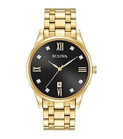 Bulova® Men's Goldtone Diamond Dial Watch