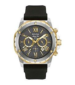 Bulova® Men's Marine Star Chronograph Watch with Black Silicone Strap