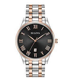 Bulova® Men's Classic Two-Tone Watch with Black Dial