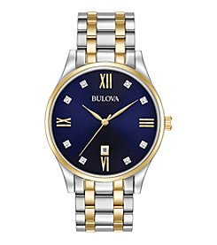 Bulova® Men's Classic Two-Tone Watch with Blue Dial
