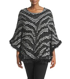 Alfred Dunner® Plus Size Wrap It Up Fur Trim Poncho Sweater