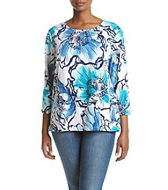 Alfred Dunner Plus Size Adirondack Trail Print Knit Top