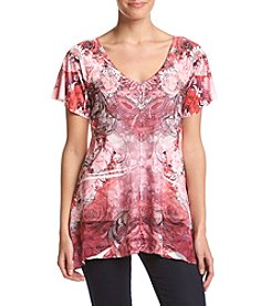 Oneworld® Flutter Sleeve V-Neck Top