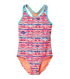 Miss Attitude Girls' 7-16 Geo Striped 1-Piece Swimsuit