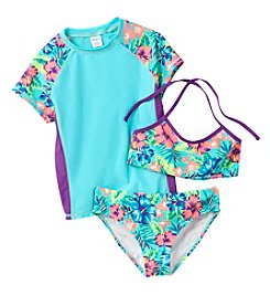 Miss Attitude Girls' 7-16 Hawaiian Rashguard Set