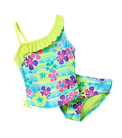 Miss Attitude Girls' 4-6X Sunset Tropics One-Shoulder Tankini