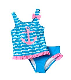 Miss Attitude Girls' 4-6X Sea Side Anchor Wave 2-Piece Ruffle Swimsuit