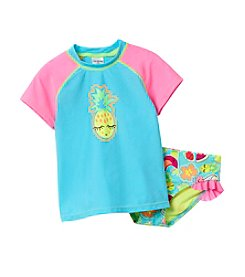 Miss Attitude Girls' 4-6X Pineapple Rashguard Set