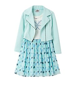 Beautees Girls' 4-6X Butterfly Dress and Moto Jacket