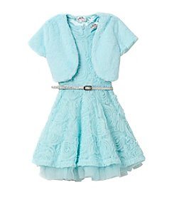 Beautees Girls' 4-6X Skater Dress And Fuzzy Shrug