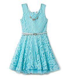 Beautees Girls' 7-16 Metallic Dress With Necklace