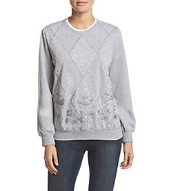 Alfred Dunner® Quilted Border Crew Neck French Terry Knit Top