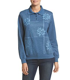 Alfred Dunner® Quilted Box Polo French Terry Knit Top