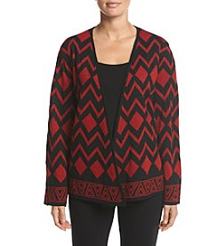 Alfred Dunner® Tis the Season Lurex Patch Cardigan