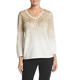 Alfred Dunner® Tis the Season Ombre Glitter Scoll Sweater