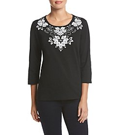 Alfred Dunner® Floral Yoke Pullout Knit Top