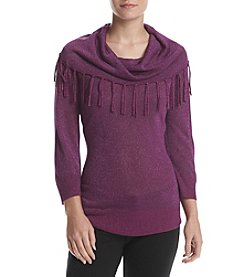 Studio Works® Three Quarter Sleeve Fringe Cowlneck Pullover