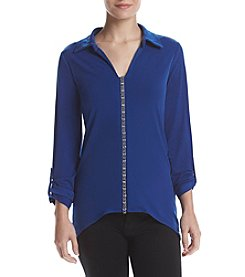 Studio Works® Long Sleeve Solid V Neck With Pointed Collar