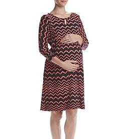 Three Seasons Maternity 3/4 Sleeve Chevron Print Dress