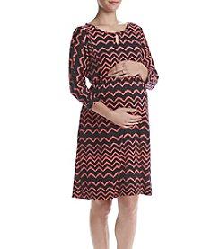 Three Seasons Maternity 3/4 Sleeve Chevron Print Dress