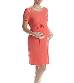 Three Seasons Maternity™ Short Sleeve Lace Yoke Dress