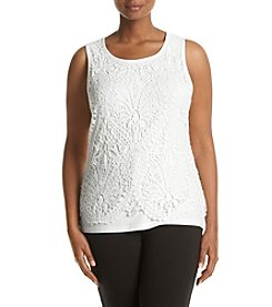 Democracy Plus Size Crochet Lace Front Tank