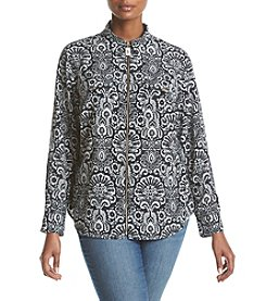 MICHAEL Michael Kors® Plus Size Tapestry Zip Front Top