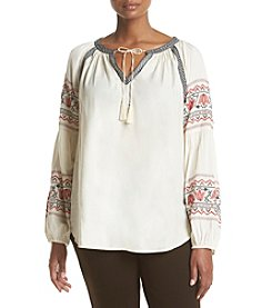 Ruff Hewn Plus Size Embroidered Peasant Top
