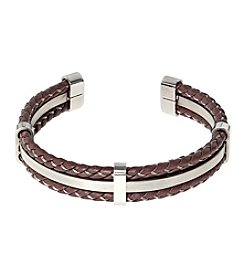 Stainless Steel and Brown Leather Cuff Bracelet
